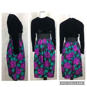 Vintage Donna Morgan Dress XS velvet Floral